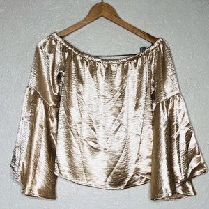 {Forever 21} sateen off the shoulder gold blouse M